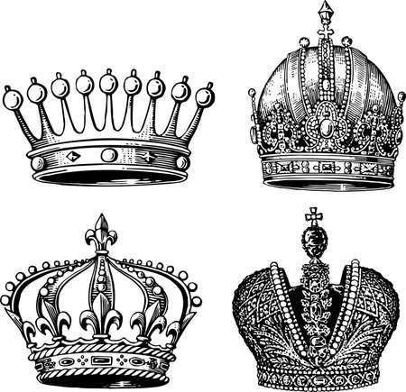 corona real: Coronas aislados en blanco