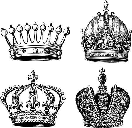 corona: Crowns isolated on white