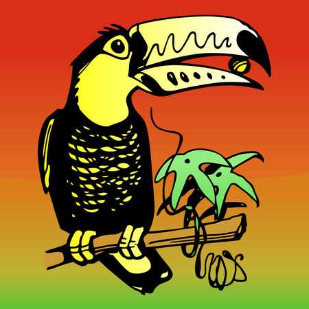 popinjay: Parrot on the branch on color background Illustration