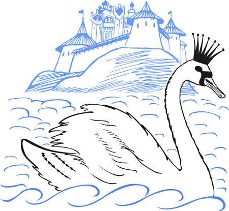 fable: Swan swimming in front of  palace