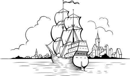 Sailing boat at sea near town Stock Vector - 10764960