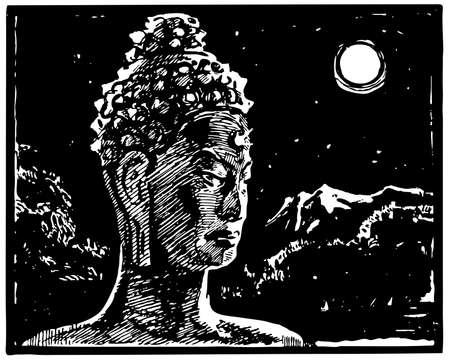 stone buddha: Buddha statue at night Illustration