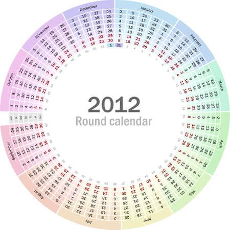 Circle calendar 2012 Vector