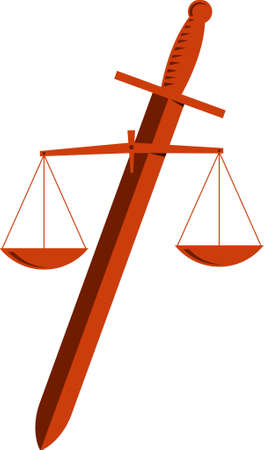 tribunal: The scales of justice and sword on white background