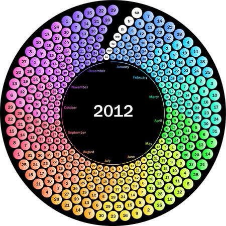 Circle calendar 2012 on black background Stock Vector - 11070936