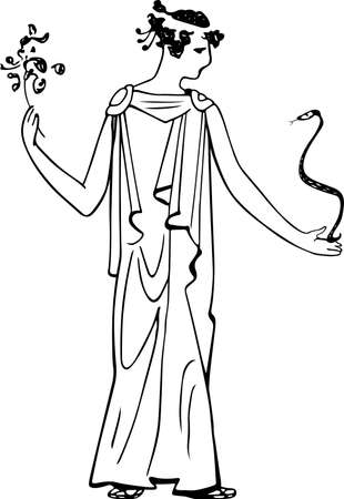 ancient greece: Lady with snake and flower Illustration
