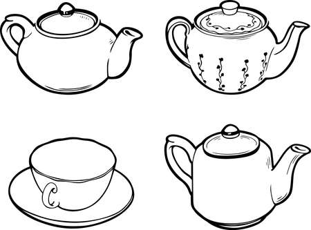 kettle: Three teapots and a cup isolated on white background Illustration
