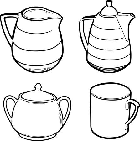 Four pieces of tea set isolated on white background