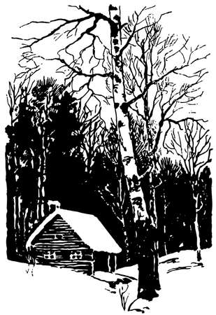 birch forest: House in the forest in winter
