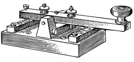 telegraaf: Morse sleutel geà ¯ soleerd op witte achtergrond