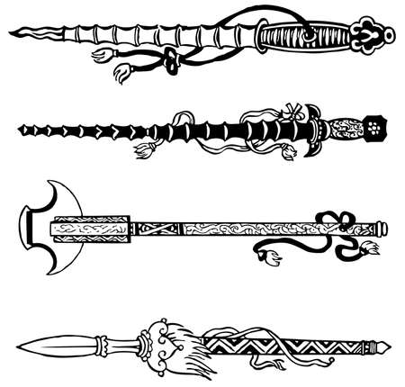 dynasty: Chinese swords isolated on white background