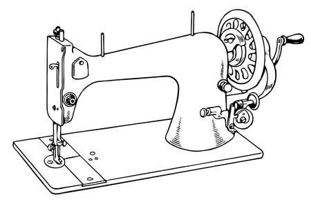 Naaimachine op een witte achtergrond Vector Illustratie