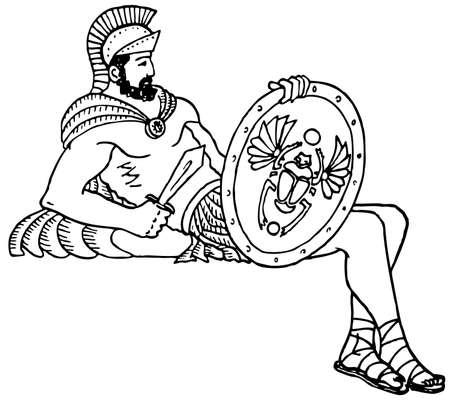 antigua grecia: Antiguo soldado descansando en el fondo blanco
