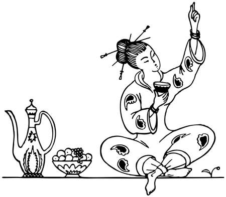 Tea ceremony of the geisha Vector