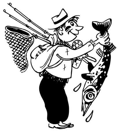 Fisherman holding a big fresh caught fish Stock Vector - 11380635