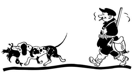 gun dog: Hunter with dog walking