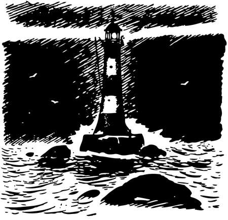 tall ship: Lighthouse at night Illustration