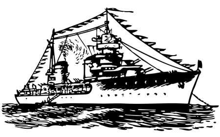Military ship at sea Vector