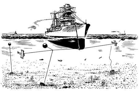 navy ship: Mine sweeper at sea