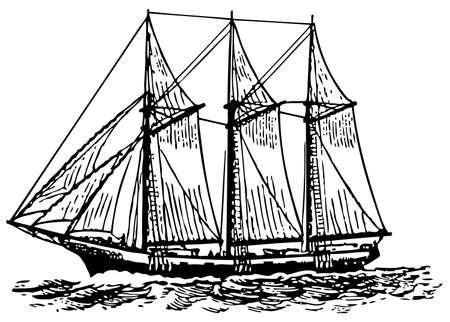galleon: Sailboat at sea Illustration