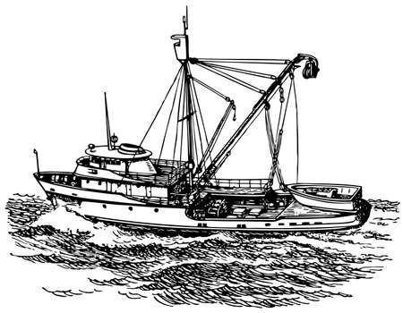 fishing boat: 바다에서 느 보트 일러스트