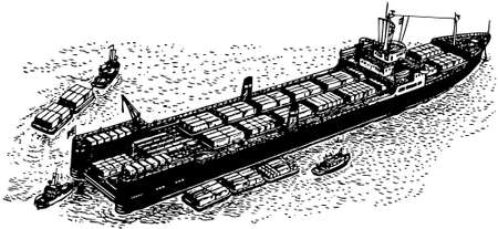 container ship: Container ship at sea Illustration