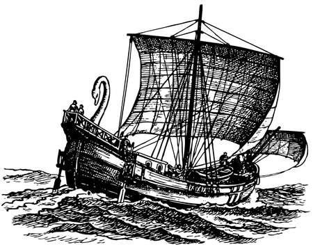 antigua grecia: Antiguo barco en el mar Vectores