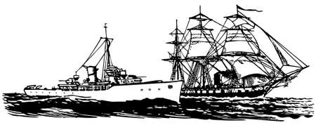 corvette: Old and modern Corvettes at sea Illustration