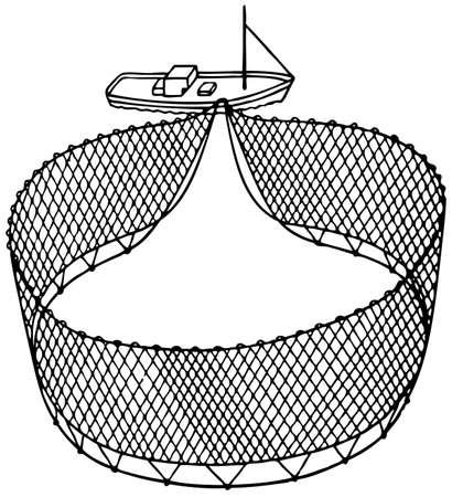 redes de pesca: Barco de rejilla en el fondo blanco Vectores