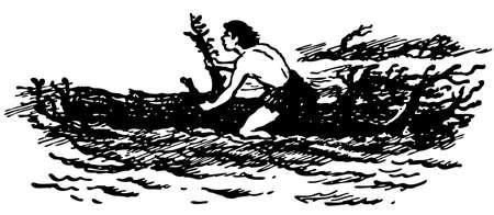 primeval: Primitive boat at sea Illustration