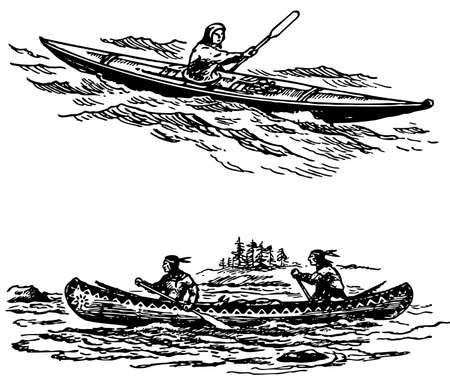 primitives: Two primitive boats at sea