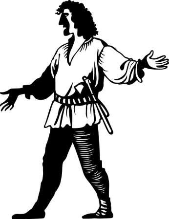 lumberman: Lumberman with axe on white background