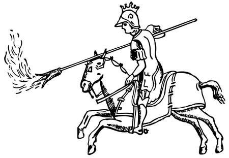 uomo a cavallo: Cavaliere con il fuoco greco (liquido fuoco) Vettoriali