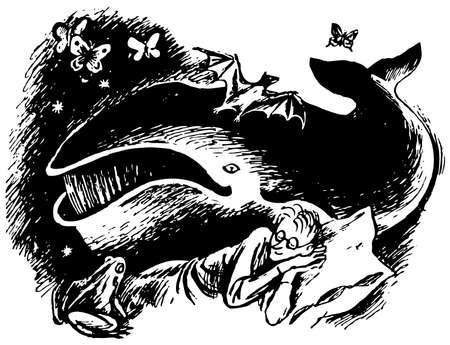 cetacean: Animals in mans dream at night Illustration