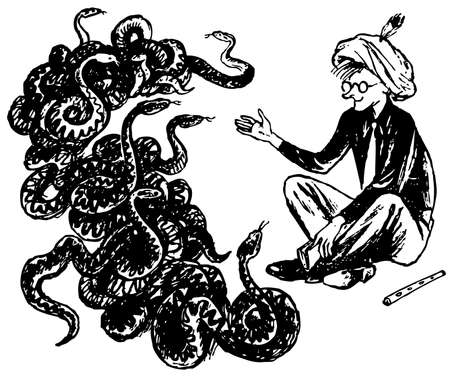 snake charmer: Snake charmer with many snakes