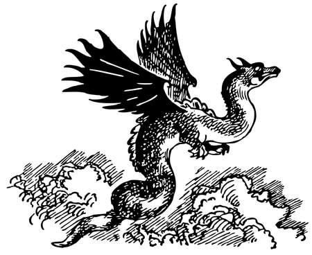 flying dragon: Dragon flying in the sky