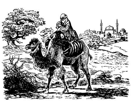 arabic woman: Bedouin with child riding camel Illustration