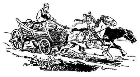 horse and carriage: Woman going on the horse-drawn cart Illustration