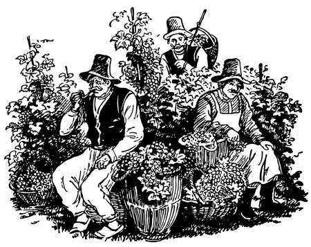 Vine pickers having a rest Vector