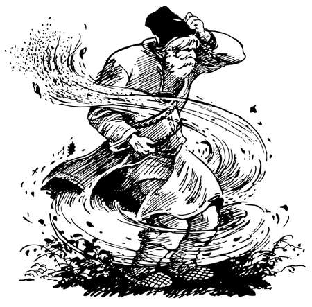 whirlwind: Old man in the whirl of dust Illustration