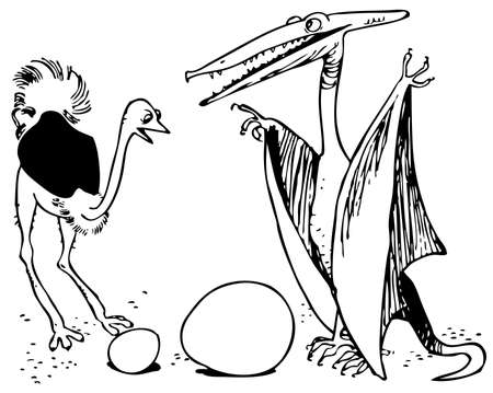pterodactyl: Ostrich and dino with their eggs