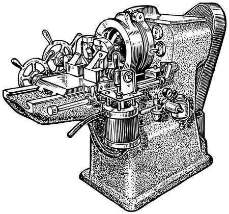 metal cutting: Pipe-cutting machine Illustration