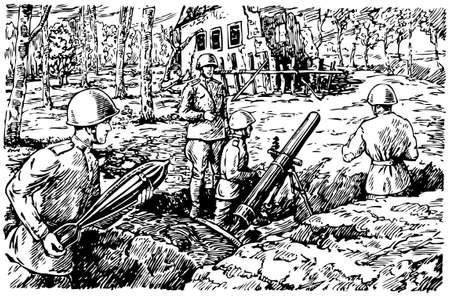 artillery shell: Posici�n de disparo Sovi�tica
