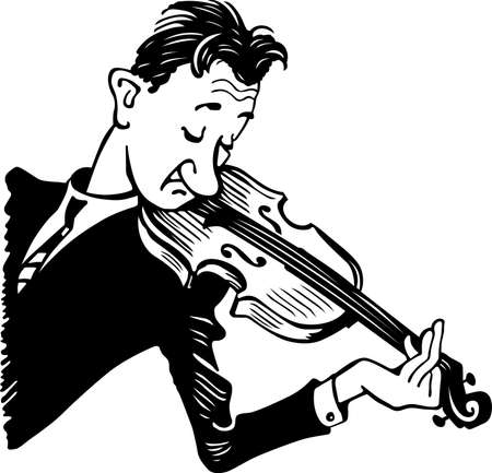 violinist: Violinist with his violin on white background