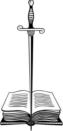 warlock: Warlock book with sword standing in the middle of it