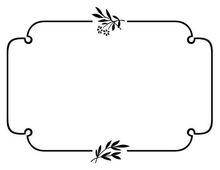 simple border: Elegance frame with little branches on white background