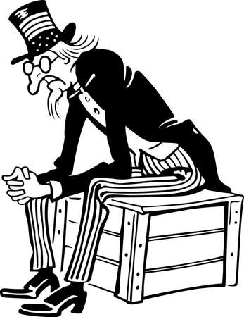 military draft: Uncle Sam sitting on the box