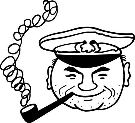 admiral: Captain smoking the pipe on white background Illustration