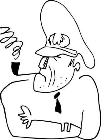 comandante: Il capitano fumando la pipa su sfondo bianco Vettoriali