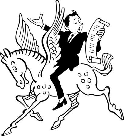 Poet riding on Pegasus and spouting poetry